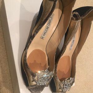 Stunning denim and gold heels